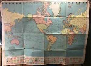 """Vintage COLORPRINT Map of the World Mercator Projection American Map Corp 50"""""""