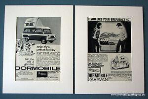 Dormobile Caravan. Set of 2 Vintage Original Adverts, 1963, 1965, in Mounts.
