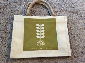 Bnwt Neu Orla Kiely Baumwolle Jute Bag-Linear Vorbau oliv wiederverwendbaren Shopper Tasche