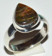 Genuine Canadian Ammolite 925 Sterling Silver Rings Jewelry s.6.5 JB13034