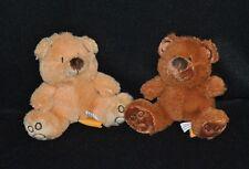 Lot 2 peluche doudou ours FIZZY beige & brun empreintes 10 cm assis TTBE