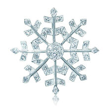 Cubic Zirconia Snowflake Design Christmas Sterling Silver Pendant + Chain