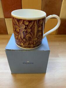 "Wedgwood Burgundy Brocade Mug Bone China 3 1/4"" Tall x 3 1/4"" Diameter"