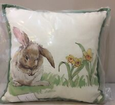 """NWT Pottery Barn PASTURE BUNNY PRINT Easter Spring Pillow 14 x 14"""""""