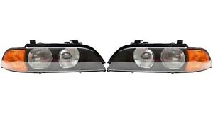 Set Left & Right Genuine Halogen Headlights Amber Indicators For BMW E39 99-00