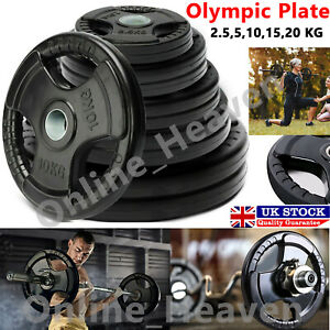 """Olympic Tri-grip Weight Plates Lifting Weights Gym Home Rubber Encased 2"""" UK"""