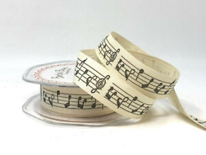 Berties Bows Musical Notes 20mm Cotton Ribbon by the metre BN