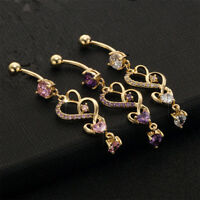 Rhinestone Body Piercing Dangle Crystal Navel Belly Button Bar Barbell Rings HS