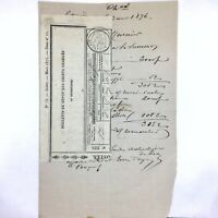 Authentic 1876 Depot Charge Receipt Document - RARE Paper Old Script - European
