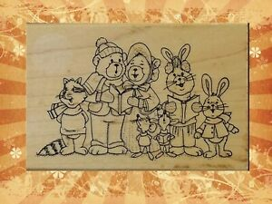 Art Impressions Characters Animal Christmas Carolers Wood Block Rubber Stamp