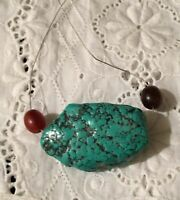 "Vtg Turquoise Large Natural Stone Pendant 1.5"" Necklace  Silver Wire Southwest"