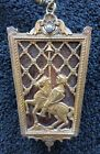 Antique Brass & Glass Ceiling Pendant Light Fixture Knight on Horseback