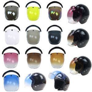 3-Snap Bubble Shield Lens Anti-VU Fog Sun Visor for Open Face Motorcycle Helmet