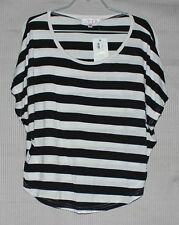 NEW TEMT Women's black and white stripped short sleeve top SIZE S