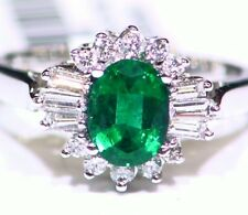 1.60CT 18K Gold Natural Emerald White Cut Diamond Vintage Deco Engagement Ring