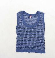White stuff Womens Size 10 Striped Wool Blend Blue Jumper (Regular)
