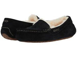 Women's Shoes UGG ANSLEY Suede Indoor/Outdoor Moccasin Slippers 1106878 BLACK