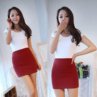 Women Pleated Seamless Stretch Tight Sexy Bodycon Mini Skirt Short Pencil Dress.