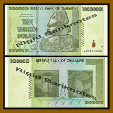 Zimbabwe 10 Trillion Dollars, AA 2008 (50 100 Trillion Series) UNC