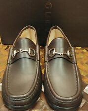 GUCCI Brown Leather Silver Horse Bit Womens Loafers Size 6