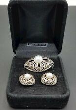 925, Pearl Earring/Brooch Set TE828