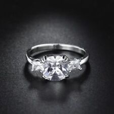 18 K White Gold Filled 3 Stone Bid Diamond Engagement Ring Size 5