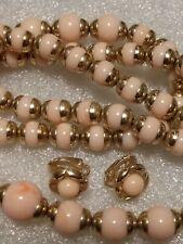 Avon Marbled Pink Beads Necklace, bracelet earring Faux Angel Skin Coral Vintage