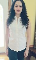 New Womens White Shirt button up sleevless Eddie Bauer Shaped Fit Orig$50 Sz XL