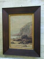 Antique English Oil Painting on Canvas Seascape in Oak Frame c1900's