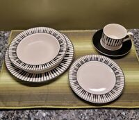 RARE Vintage Black & White Porcelain PIANO Dinnerware Set for 4 Music Themes ☆