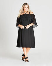 Autograph off The Shoulder Black Flowing Short Sleeve Midi Dress Size 14 Lined