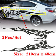 Universal 1pair Car Side Door Vinyl Styling Decal Stickers Black Flame Graphics