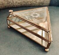 Vintage Etched Glass & Brass Trinket Jewelry Box: Triangular w Mirror Bottom