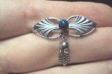 dainty little oblong leaf blue + dangle tassel Sterling Silver pin brooch Wells