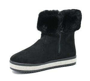 Diamond Booties Women's Shoes Black Winter With Fur