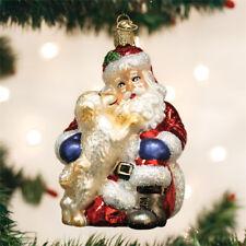 Santa's Puppy Love Glass Ornament