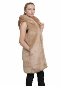 De La Creme - Women's Luxury Faux Fur Gilet Ladies Hooded Sleeveless Jacket