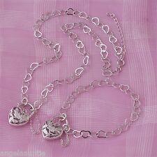 18K White Gold Filled Heart Link Filigree Heart Necklace/Bracelet Set (S-135)