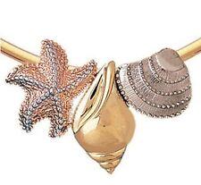 NEW 14k Tri Color Gold Seashell Starfish Slide Pendant