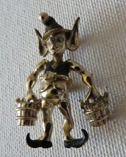 Vtg 1940's Pixie Pin~elf hold buckets of Gold
