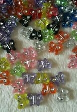 30 X Mixed Acrylic Butterfly Beads with gem detail 10x10mm.* UK SELLER *