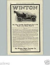 1905 PAPER AD Winton Motor Carriage Co Cleveland Model K Car Auto Automobile