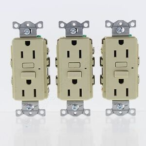 New 3-Pack Hubbell Ivory Self-Test GFCI Receptacle GFI Outlets 5-15R 15A GF15IZ