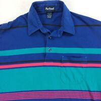 Vintage Par Four Bold Stripe Paper Thin Polo Shirt Mens LARGE Golf Tennis Skate