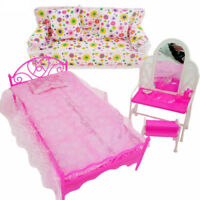 Bed Dressing Table & Chair Set For Barbies Dolls Bedroom Furniture IB