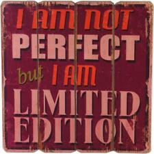 Vintage Shabby chic Wood Effect Im not perfect Wall Plaque WP_31414