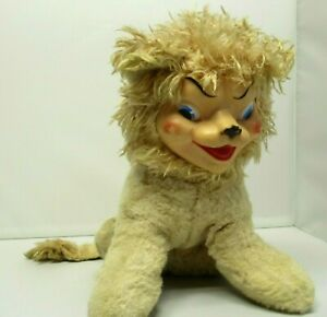 """Vintage Rubber Face MY TOY Stuffed Plush Lion Rare 10"""" Toy"""