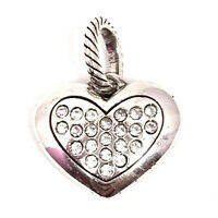 Brighton Amore Heart Charm, J91622 Silver Finish, Clear Crystals New