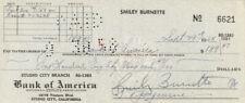 SMILEY (LESTER) BURNETTE - AUTOGRAPHED SIGNED CHECK 09/29/1958