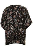 Topshop Black Paisley Print Loose Fit Kimono Cape Jacket UK 8 EURO 36 US 4 BNWT
